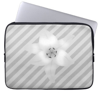 White Lily on a Gray Stripe Pattern Computer Sleeves