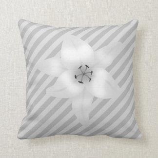 White Lily on a Gray Stripe Pattern Throw Pillows