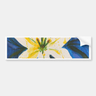 White Lily on Blue Collection by Jane Bumper Sticker