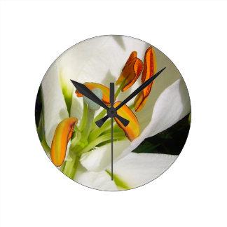 White Lily Round Clock