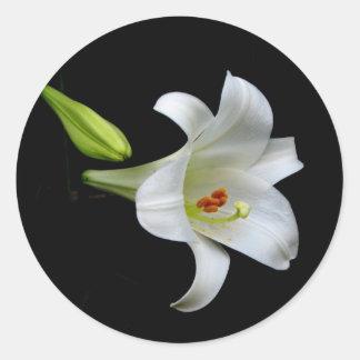 White Lily Classic Round Sticker