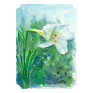 White Lily Watercolor Flower Retirement Party Card