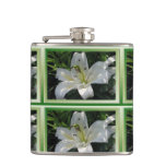 White Lily With Decorative Border Flask