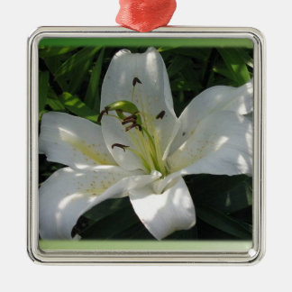 White Lily With Decorative Border Metal Ornament