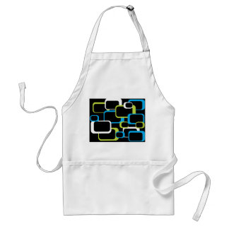 White Lime Green and Turquoise Retro Squares Adult Apron