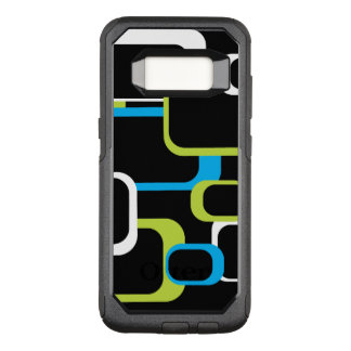 White Lime Green and Turquoise Retro Squares Black OtterBox Commuter Samsung Galaxy S8 Case