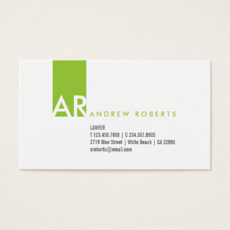 White Lime Green Monogram Clean Business Card