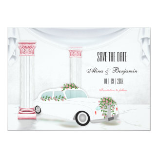 White Limo Columns Pink Flowers Save the Date Card