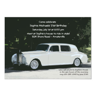 White Limo Party Invitation
