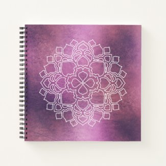 White Line Art Mandala on Pinkish-Purple Grunge Notebook