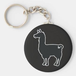 White Line Llama Keychain