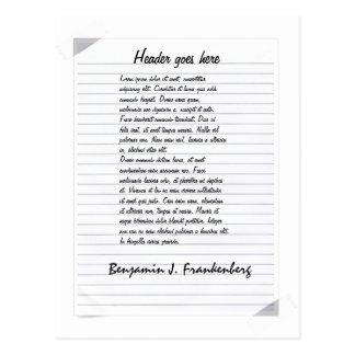 White line paper template postcard