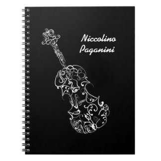 White Line Violin Drawing, Customizable Name Notebook
