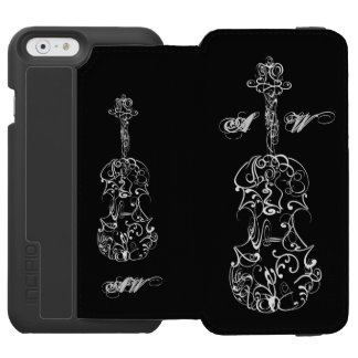 White Line Violin Drawing on Black Customizable iPhone 6/6s Wallet Case