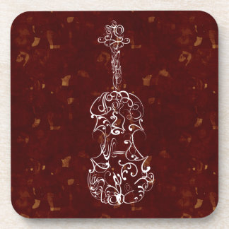 White Line Violin Drawing on Deep Red Background Coasters