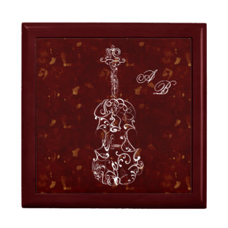 White Line Violin on Deep Red Trinket Boxes