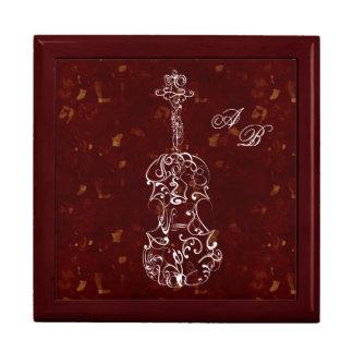 White Line Violin on Deep Red Keepsake Box
