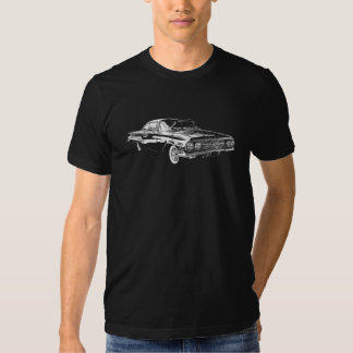 White lineart '60 Chevy Impala on colored t-shirt