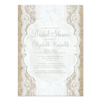 White Linen Burlap Lace Bridal Shower Invitations Cards