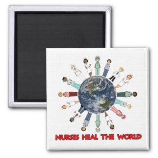 White Linen Pattern with World Nurses Magnet