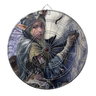 White Lion and Elf Fantasy Art Dartboard With Darts