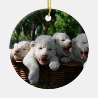 White Lion Cubs In A Basket  Belogorsk, Crimea Ceramic Ornament