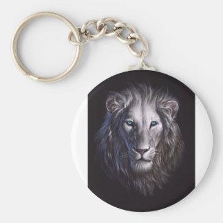White Lion Face Portrait Keychain
