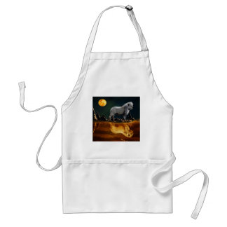White Lion Guarding the Night Adult Apron