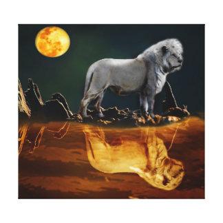 White Lion Guarding the Night Canvas Print
