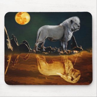 White Lion Guarding the Night Mouse Pad