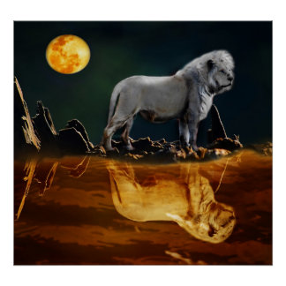 White Lion Guarding the Night Poster