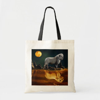 White Lion Guarding the Night Tote Bag