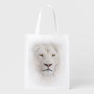 White Lion Head Reusable Grocery Bag