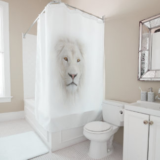 White Lion Head Shower Curtain