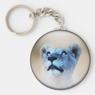 White Lion look of surprise close up Keychain