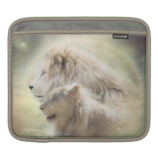 White Lion Moon Art iPad Sleeve