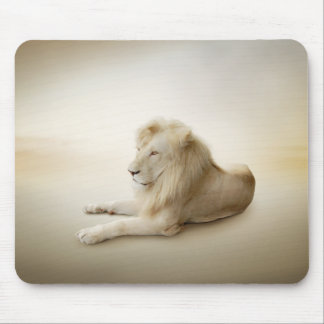 White Lion Mouse Pad