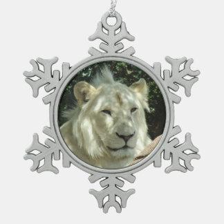 White Lion Snowflake Pewter Christmas Ornament