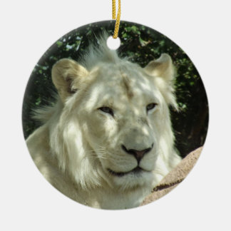 White Lion Double-Sided Ceramic Round Christmas Ornament