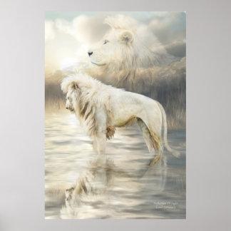 White Lion - Reflection Of Light Fine Art Poster