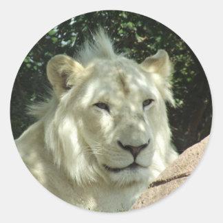 White Lion Classic Round Sticker
