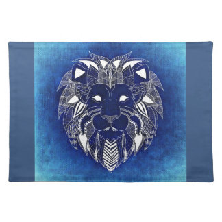 White Lion With Blue Background Cloth Placemat