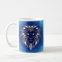 White Lion With Blue Background Coffee Cup Mug