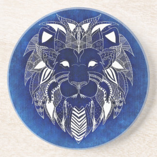 White Lion With Blue Background Drink Coasters