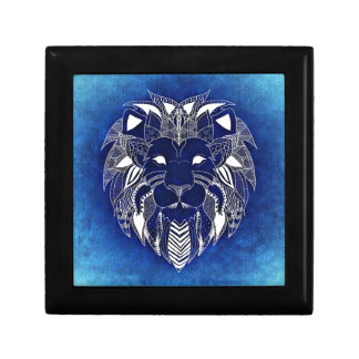 White Lion With Blue Background Gift Boxes