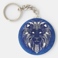 White Lion With Blue Background Unisex Keychain