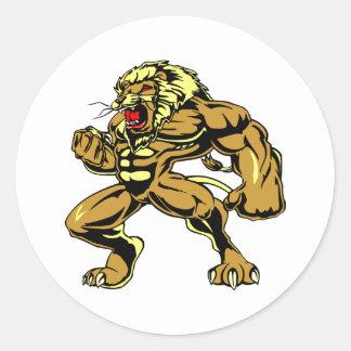 White Lionman Leo Classic Round Sticker