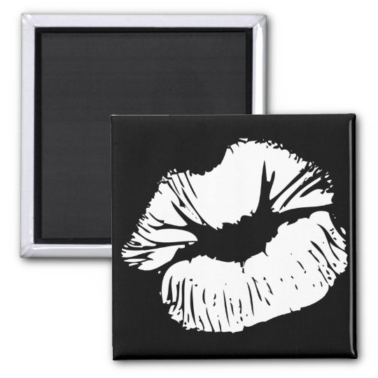 White Lips 2 Inch Square Magnet