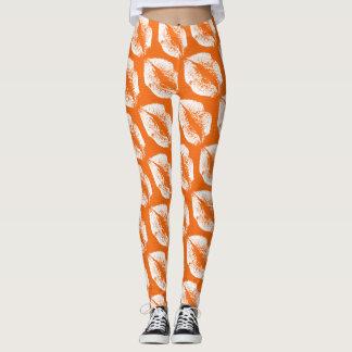 White Lips Modern Orange Leggings