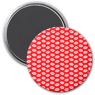 WHite-lips-on-neon-red.png 3 Inch Round Magnet